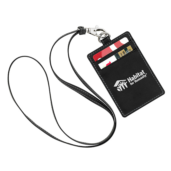 Leather Id Holder With Neck Cord
