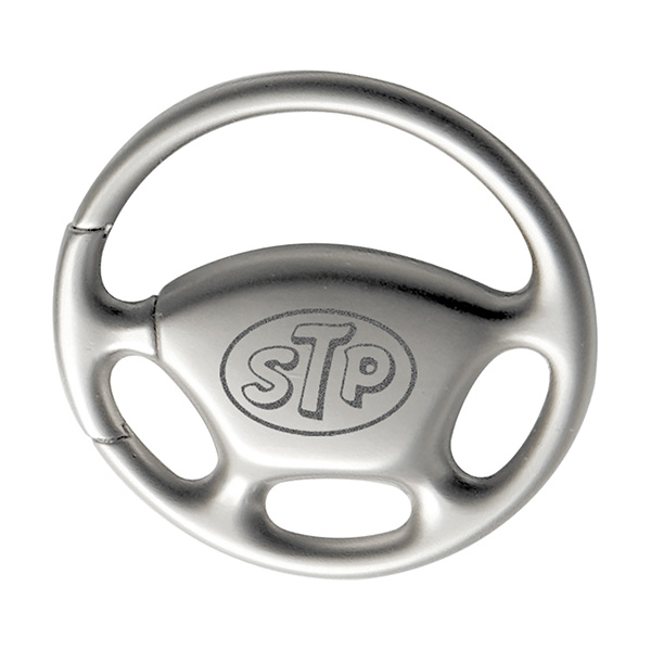 Steering Wheel Pull-n-Twist Metal Keychain